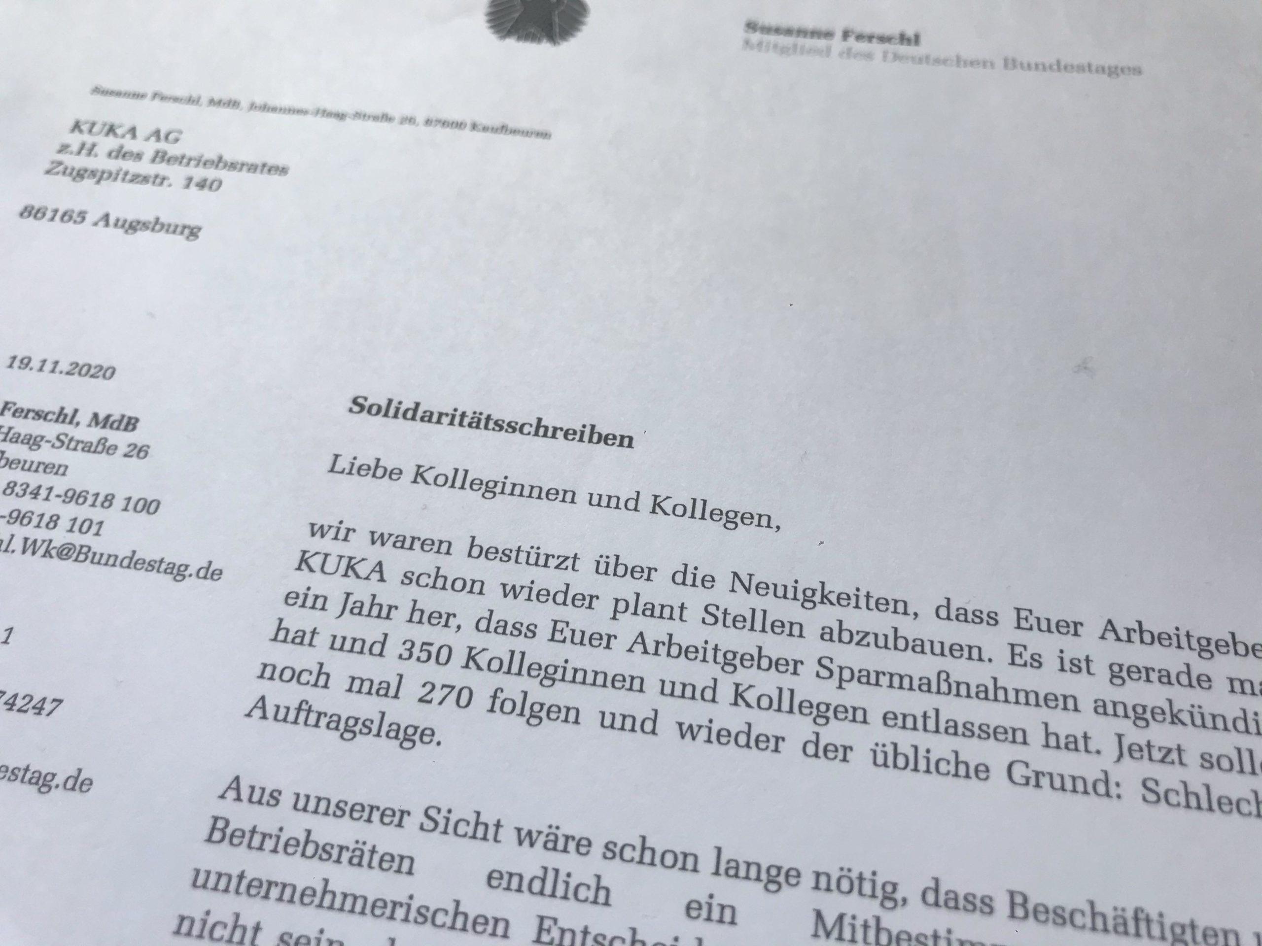 Solidarität mit den Kolleginnen und Kollegen der KUKA AG Augsburg