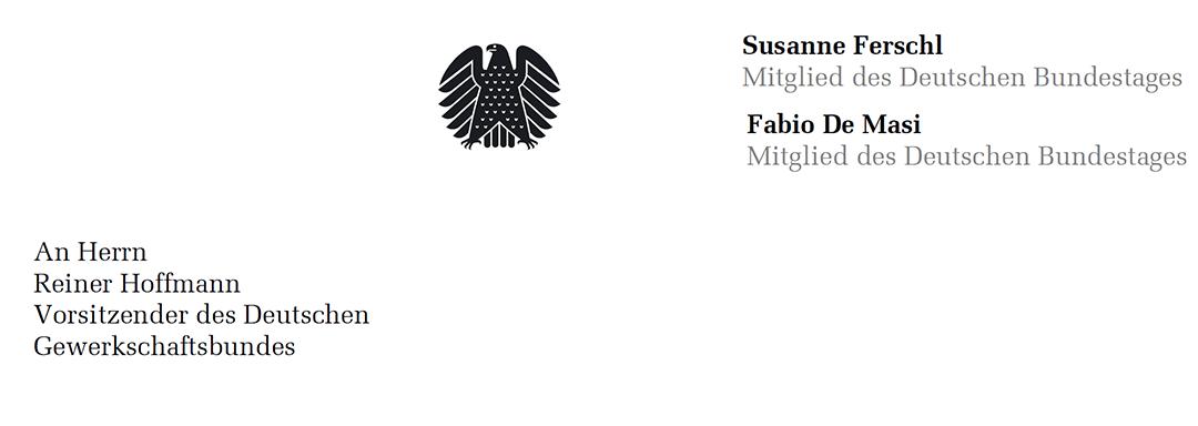 Offener Brief an DGB-Chef Reiner Hoffmann
